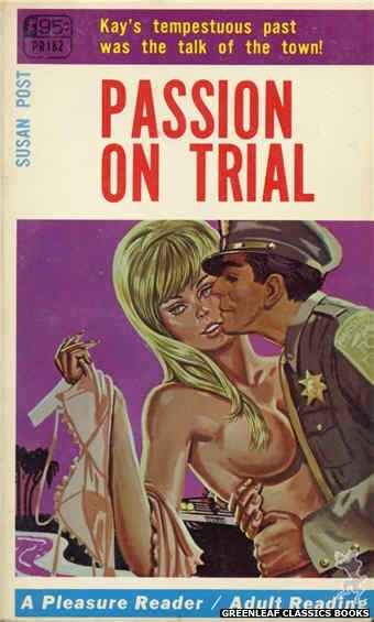 Pleasure Reader PR182 - Passion On Trial by Susan Post, cover art by Tomas Cannizarro (1968)