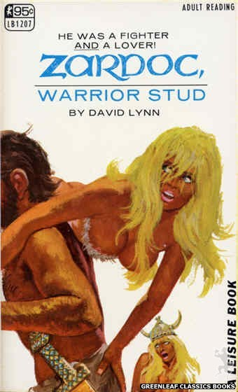 Leisure Books LB1207 - Zardoc, Warrior Stud by David Lynn, cover art by Robert Bonfils (1967)