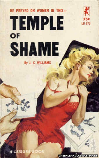 Leisure Books LB673 - Temple of Shame by J.X. Williams, cover art by Robert Bonfils (1965)