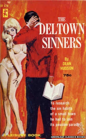 Leisure Books LB678 - The Deltown Sinners by Dean Hudson, cover art by Robert Bonfils (1965)