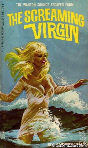 Leisure Books LB1151 - The Screaming Virgin by Andrew Shaw, cover art by Robert Bonfils (1966)