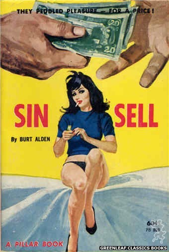 Pillar Books PB809 - Sin Sell by Burt Alden, cover art by Robert Bonfils (1963)