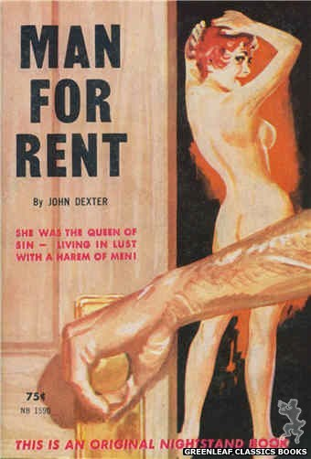 Nightstand Books NB1590 - Man For Rent by John Dexter, cover art by Harold W. McCauley (1962)