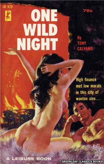 Leisure Books LB679 - One Wild Night by Tony Calvano, cover art by Robert Bonfils (1965)