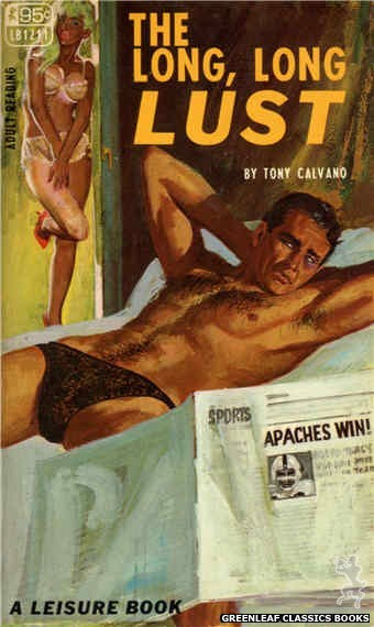 Leisure Books LB1211 - The Long, Long Lust by Tony Calvano, cover art by Robert Bonfils (1967)