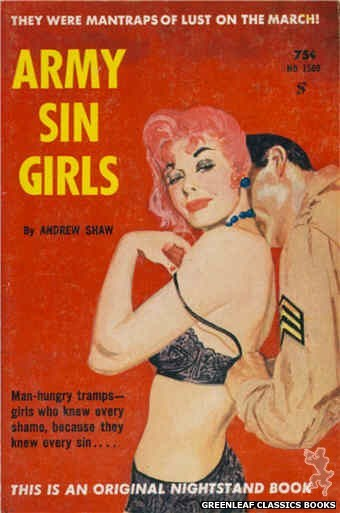 Nightstand Books NB1569 - Army Sin Girls by Andrew Shaw, cover art by Harold W. McCauley (1961)