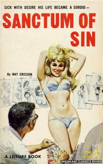 Leisure Books LB676 - Sanctum of Sin by Nat Ericson, cover art by Robert Bonfils (1965)
