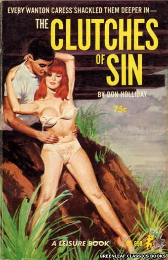 Leisure Books LB690 - The Clutches Of Sin by Don Holliday, cover art by Robert Bonfils (1965)