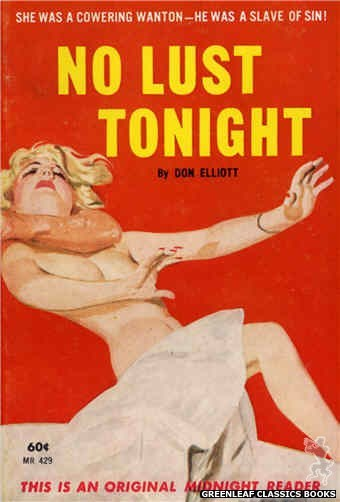 Midnight Reader 1961 MR429 - No Lust Tonight by Don Elliott, cover art by Unknown (1962)