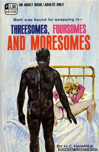 Adult Books AB1536 - Threesomes, Foursomes & Moresomes by H.C. Hawkes, cover art by Robert Bonfils (1970)