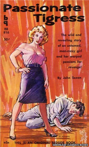 Bedside Books BB 816 - Passionate Tigress by John Saxon, cover art by Border (1959)