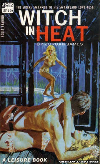 Leisure Books LB1206 - Witch In Heat by Jordan James, cover art by Robert Bonfils (1967)