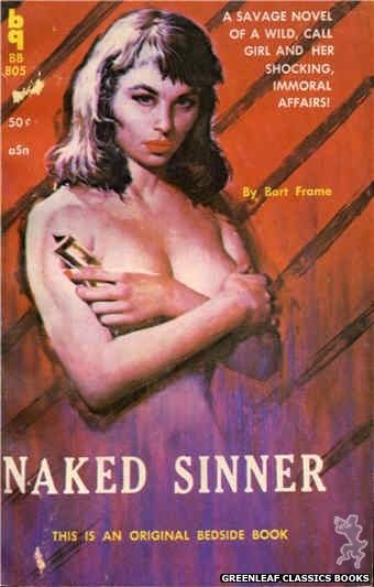 Bedside Books BB 805 - Naked Sinner by Bart Frame, cover art by Unknown (1959)