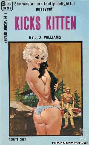 Pleasure Reader PR201 - Kicks Kitten by J.X. Williams, cover art by Robert Bonfils (1969)