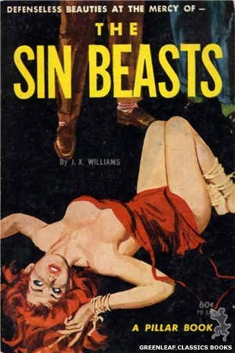 Pillar Books PB828 - The Sin Beasts by J.X. Williams, cover art by Robert Bonfils (1964)