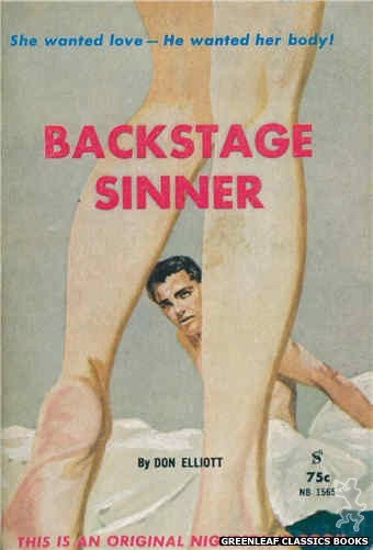 Nightstand Books NB1565 - Backstage Sinner by Don Elliott, cover art by Harold W. McCauley (1961)