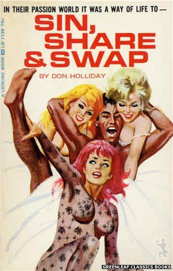 Leisure Books LB1138 - Sin, Share & Swap by Don Holliday, cover art by Robert Bonfils (1966)