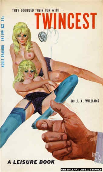 Leisure Books LB1199 - Twincest by J.X. Williams, cover art by Robert Bonfils (1967)