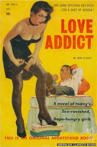 Nightstand Books NB1501 - Love Addict by Don Elliott, cover art by Harold W. McCauley (1959)