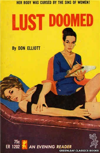 Evening Reader ER1202 - Lust Doomed by Don Elliott, cover art by Unknown (1965)