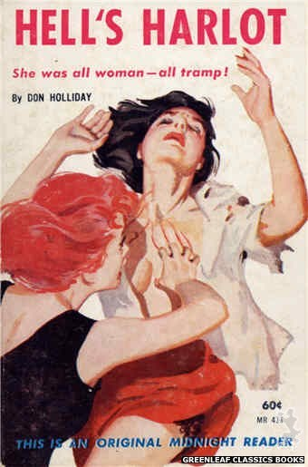 Midnight Reader 1961 MR411 - Hell's Harlot by Don Holliday, cover art by Harold W. McCauley (1962)