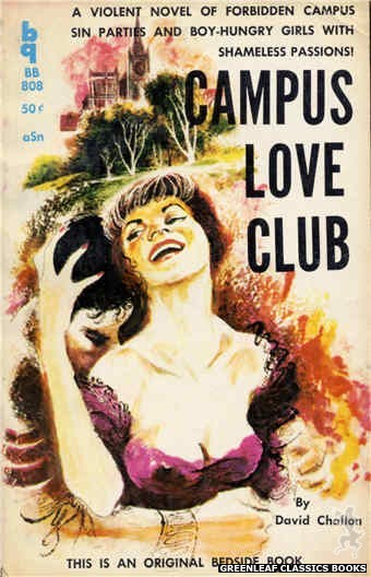 Bedside Books BB 808 - Campus Love Club by David Challon, cover art by Unknown (1959)