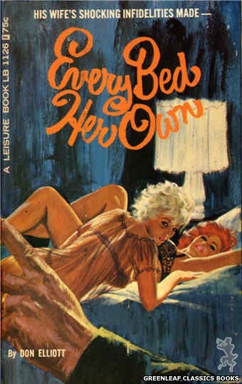 Leisure Books LB1126 - Every Bed Her Own by Don Elliott, cover art by Robert Bonfils (1966)