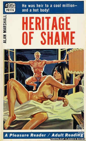 Pleasure Reader PR176 - Heritage Of Shame by Alan Marshall, cover art by Tomas Cannizarro (1968)