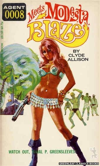 Leisure Books LB1169 - Agent 0008 Meets Modesta Blaze by Clyde Allison, cover art by Robert Bonfils (1966)