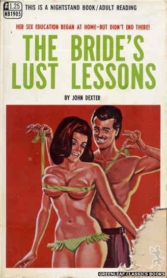 Nightstand Books NB1905 - The Bride's Lust Lessons by John Dexter, cover art by Tomas Cannizarro (1968)