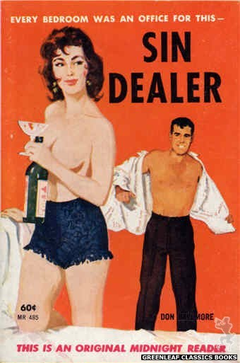 Midnight Reader 1961 MR485 - Sin Dealer by Don Bellmore, cover art by Unknown (1963)