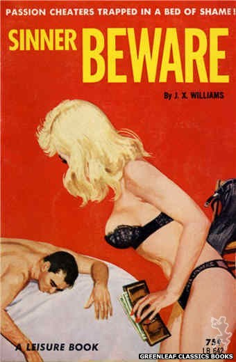 Leisure Books LB642 - Sinner Beware by J.X. Williams, cover art by Robert Bonfils (1964)