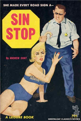 Leisure Books LB648 - Sin Stop by Andrew Shay, cover art by Unknown (1964)