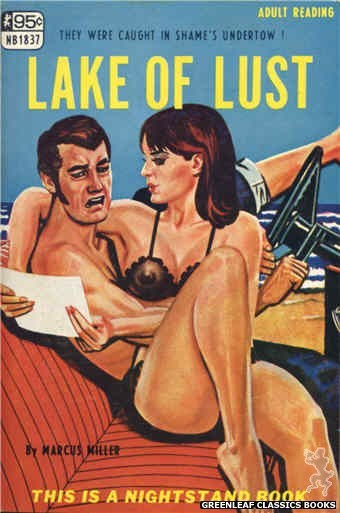 Nightstand Books NB1837 - Lake of Lust by Marcus Miller, cover art by Tomas Cannizarro (1967)