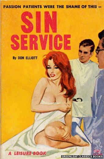 Leisure Books LB633 - Sin Service by Don Elliott, cover art by Robert Bonfils (1964)