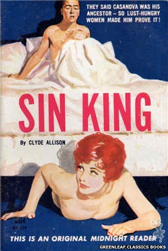 Midnight Reader 1961 MR424 - Sin King by Clyde Allison, cover art by Harold W. McCauley (1962)