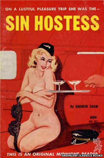Midnight Reader 1961 MR491 - Sin Hostess by Andrew Shaw, cover art by Unknown (1963)