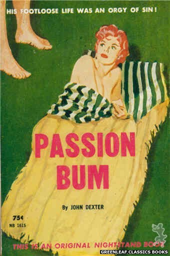 Nightstand Books NB1615 - Passion Bum by John Dexter, cover art by Harold W. McCauley (1962)