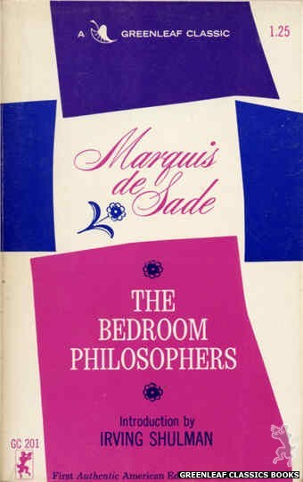 Greenleaf Classics GC201 - The Bedroom Philosophers by Marquis de Sade, cover art by Text Only (1965)