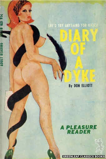 Pleasure Reader PR118 - Diary Of A Dyke by Don Elliott, cover art by Tomas Cannizarro (1967)