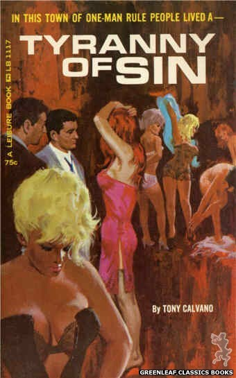 Leisure Books LB1117 - Tyranny of Sin by Tony Calvano, cover art by Robert Bonfils (1965)