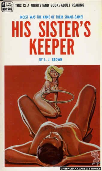 Nightstand Books NB1907 - His Sister's Keeper by L.J. Brown, cover art by Tomas Cannizarro (1968)