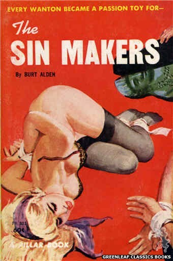 Pillar Books PB801 - The Sin Makers by Burt Alden, cover art by Robert Bonfils (1963)