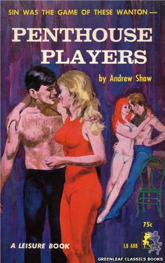 Leisure Books LB688 - Penthouse Players by Andrew Shaw, cover art by Robert Bonfils (1965)