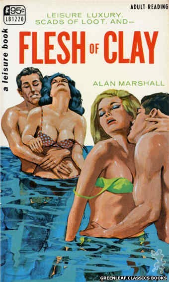 Leisure Books LB1220 - Flesh of Clay by Alan Marshall, cover art by Darrel Millsap (1967)