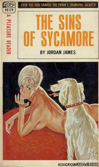 Pleasure Reader PR179 - The Sins Of Sycamore by Jordan James, cover art by Tomas Cannizarro (1968)